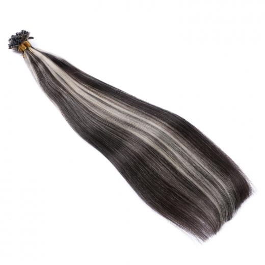 25 keratin bonding hair extensions 1b grey gestr hnt. Black Bedroom Furniture Sets. Home Design Ideas